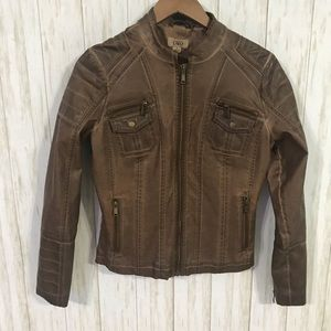 Faux leather moto jacket distressed brown Small